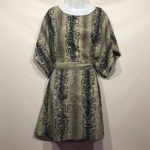 BCBGMAXAZRIA Snake Print Dress with Tied Waist